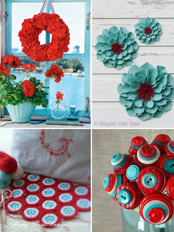 red aqua inspiration board